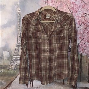 Converse button up brown/gold plaid v-neck top S